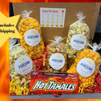 Heat It Up Box - Includes our top 5 spicy flavors, plus a Hot Tamales Candy Box.  Price includes shipping to any front door in the continental U.S.