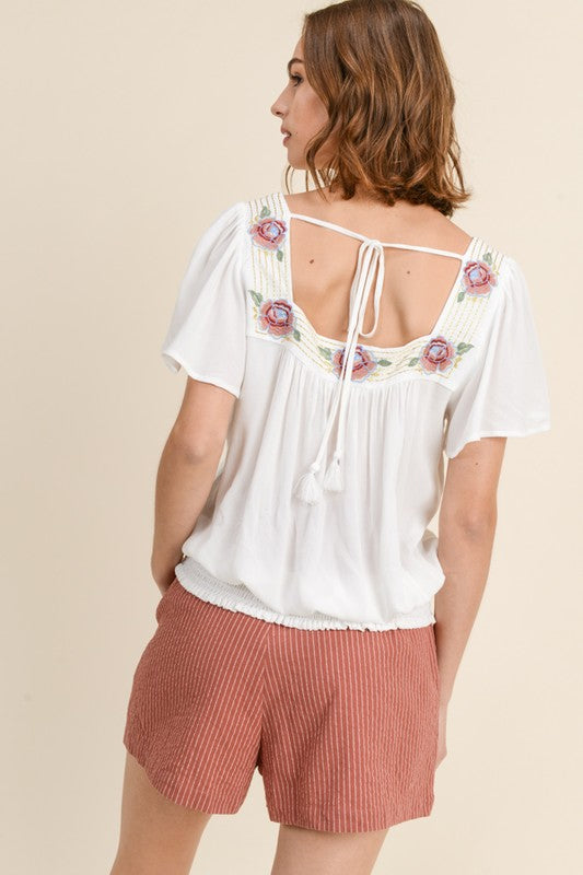 Restock -  Natalie Embroidered Top