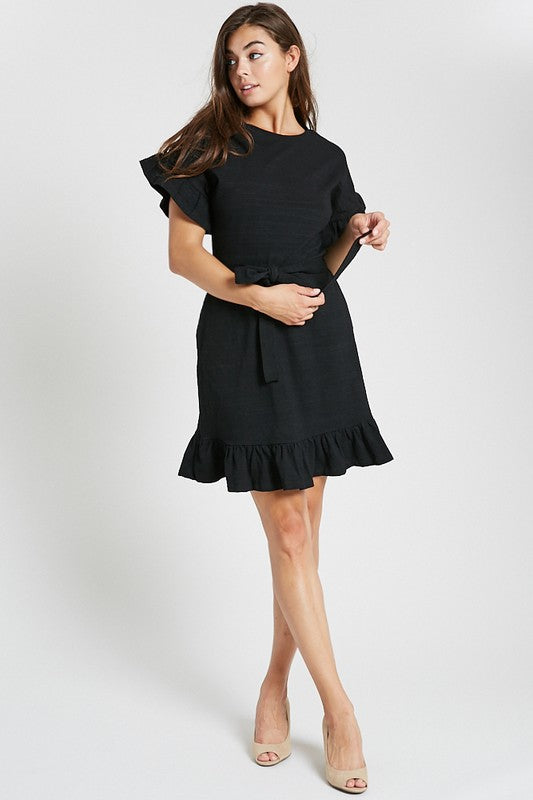 Kimmy Ruffle Dress in Black