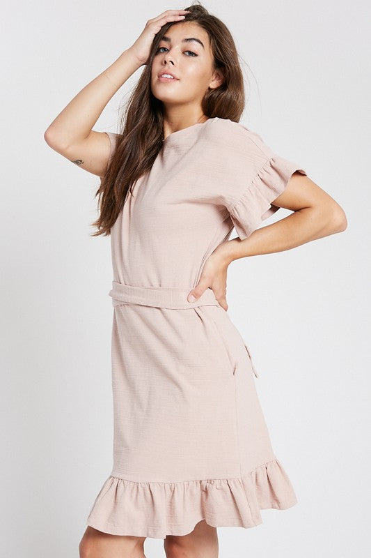 Kimmy Ruffle Dress in Blush