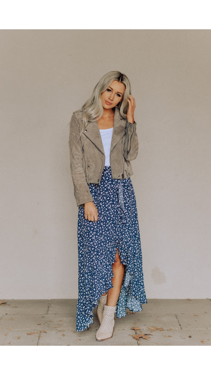 Venice Floral Skirt in Navy