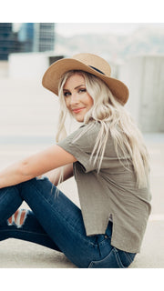 Anything Goes Boater Hat in Tan