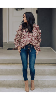 Penelope Floral Blouse in Burgundy