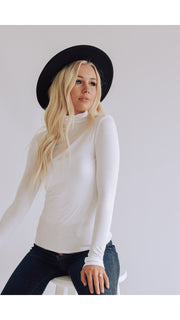 Henly Turtleneck Top in White