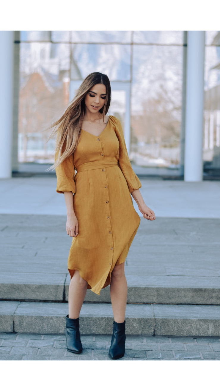 Bedford Button Dress in Dijon