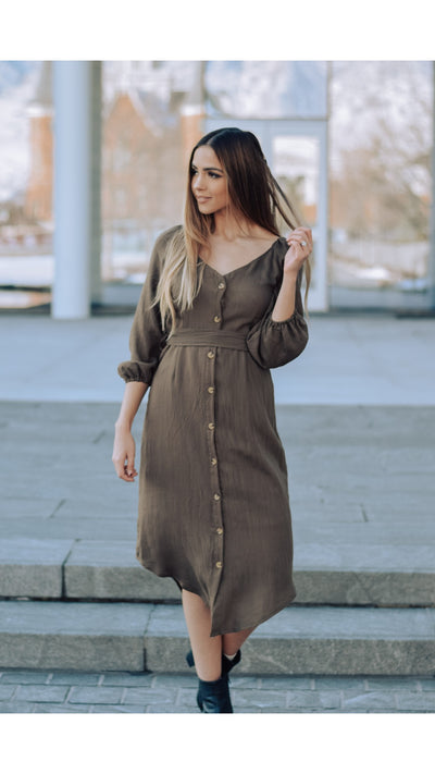 Bedford Button Dress in Olive