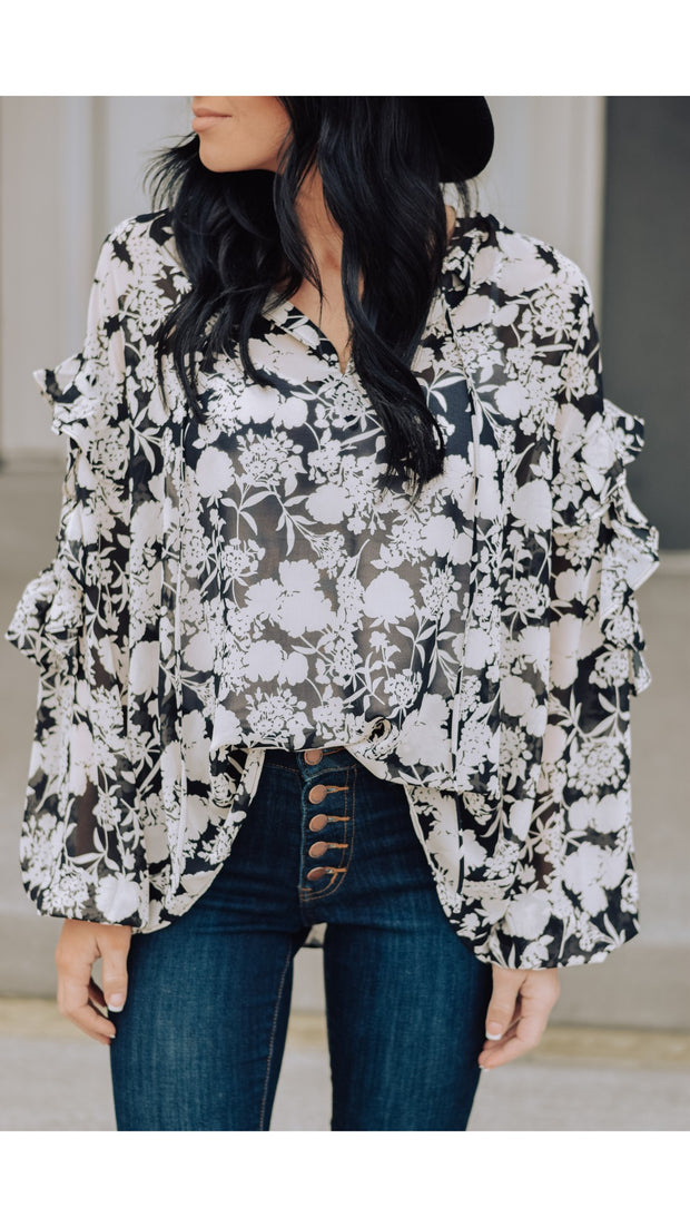 Restock Penelope Floral Blouse in Black