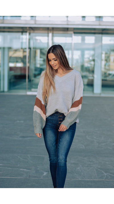 Ramsey Colorblock Sweater in Silver
