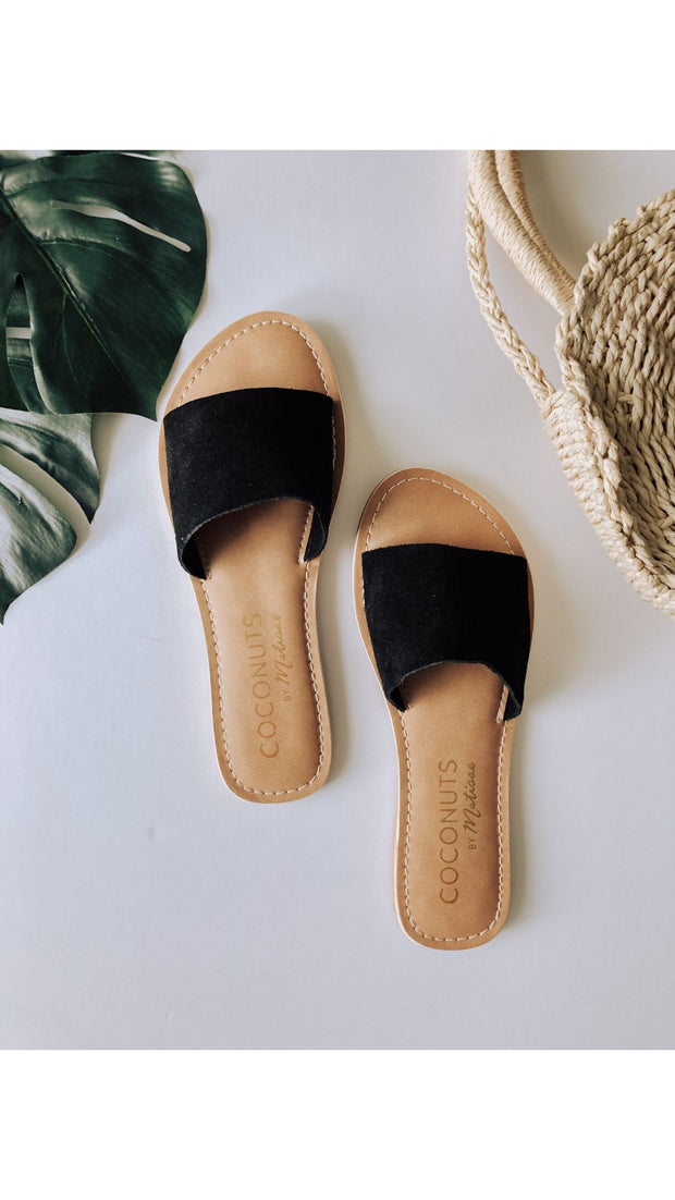 Del Mar Suede Slides in Black