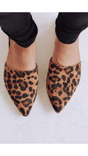 Leo Leopard Pointed Mules