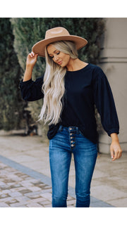 Stella Top 3/4 Sleeve in Black