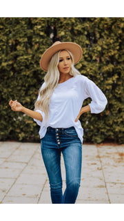 Stella Top 3/4 Sleeve in White