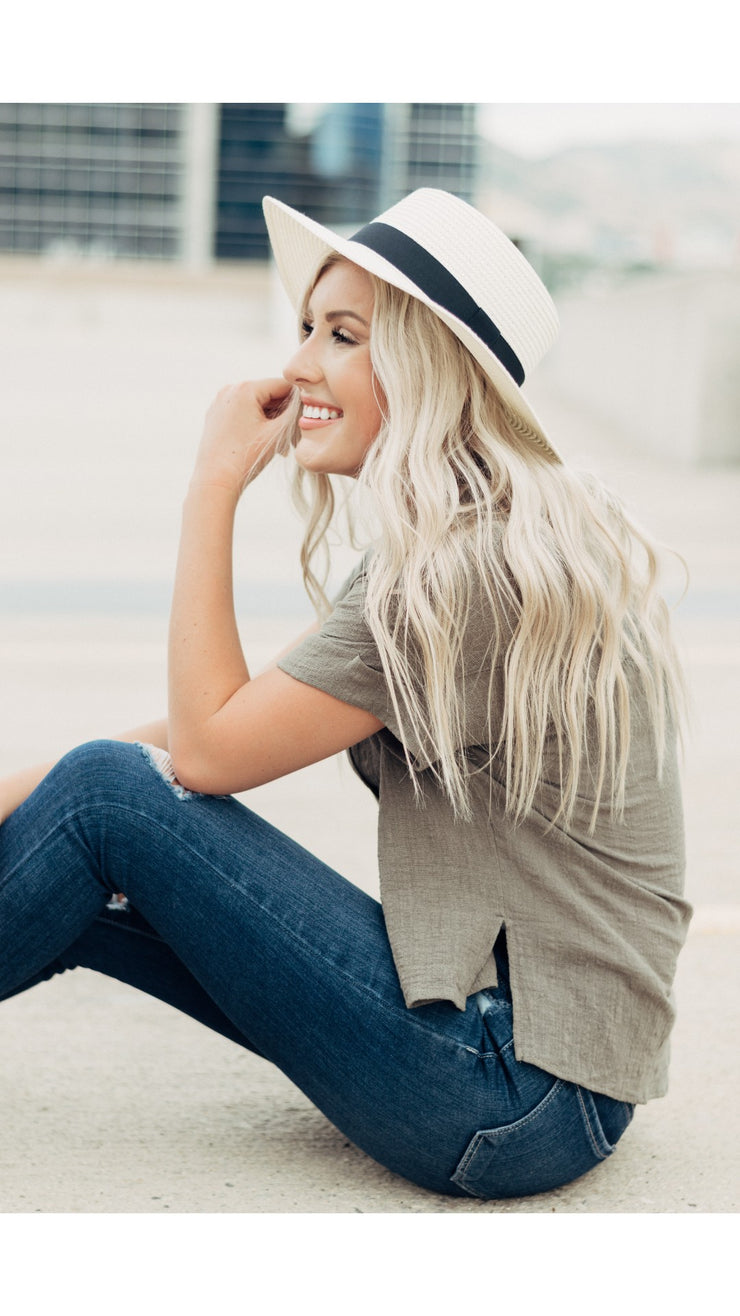 Anything Goes Boater Hat in Ivory