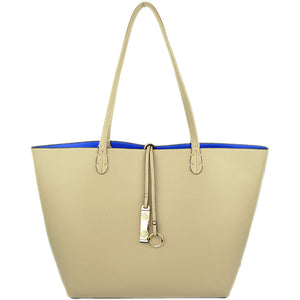 Beige/Royal Blue Reversible Tote
