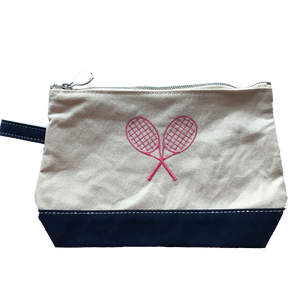 Makeup Bag/Clutch Navy with Tennis Racquets