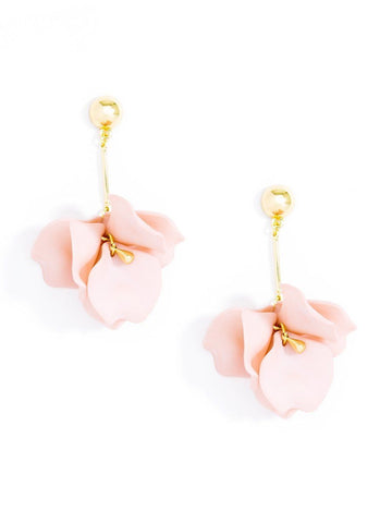 Marie Petal Earrings in Pale Pink
