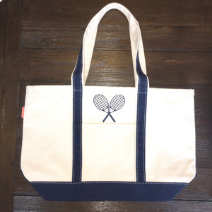 Navy Medium  Canvas Tote with Tennis Racquets SALE