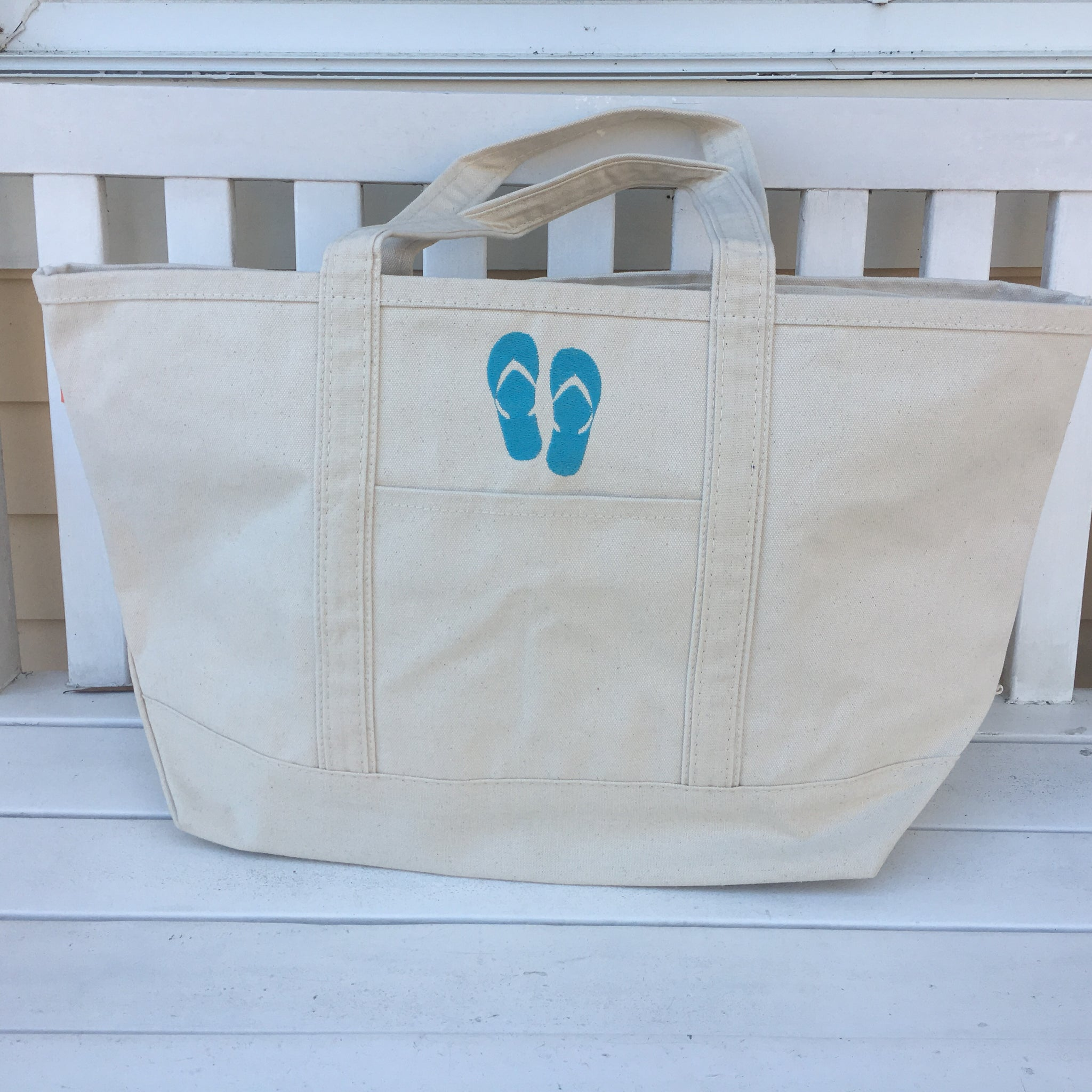 Large Boat Tote Natural with Flip Flops SALE