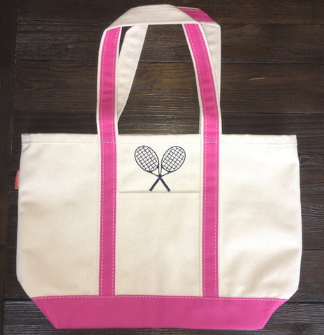Hot Pink Medium Canvas Tote with Tennis Racquets SALE
