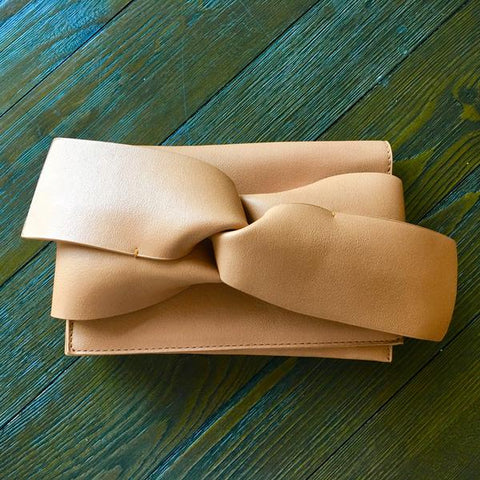 Knotted Clutch in Tan