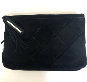 Woven Suede Clutch in Black