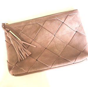 Woven Suede Clutch in Blush