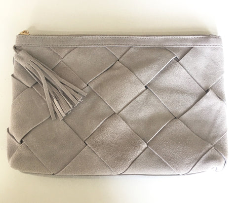 Woven Suede Clutch in Light Grey