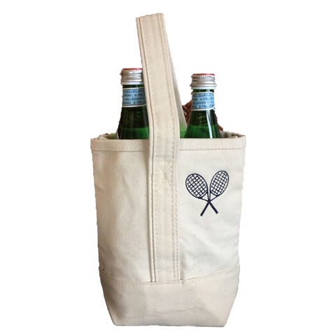 Wine Tote with Tennis Racquets