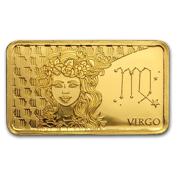 2020 Solomon Islands 1/2 Gram Gold Zodiac Ingot (Virgo) - American Heritage Mint Bullion
