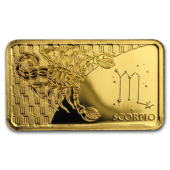 2020 Solomon Islands 1/2 Gram Gold Zodiac Ingot (Scorpio) - American Heritage Mint Bullion