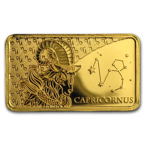 2020 Solomon Islands 1/2 Gram Gold Zodiac Ingot (Capricorn) - American Heritage Mint Bullion