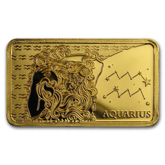2020 Solomon Islands 1/2 Gram Gold Zodiac Ingot (Aquarius) - American Heritage Mint Bullion