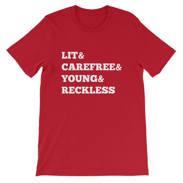 Lit & CareFree & Young & Reckless short sleeve t-shirt