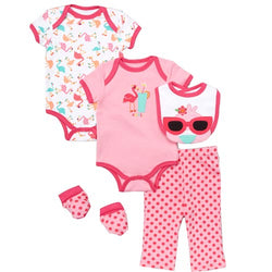 Baby girl outfit flamingo - 5 piece set - winter