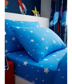 BLUE STARS Single fitted sheet & Pillowcase