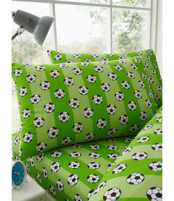 PRE ORDER GREEN SOCCER Single fitted sheet & Pillowcase
