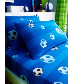 BLUE SOCCER Single fitted sheet & Pillowcase