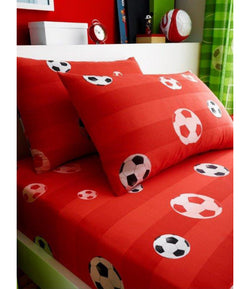 PRE ORDER RED SOCCER Single fitted sheet & Pillowcase