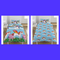 Rainbow Unicorn Single Quilt Cover Set