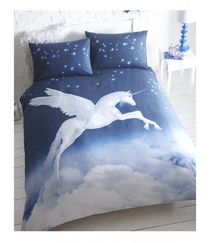 Unicorn Blue Single Quilt Cover Set