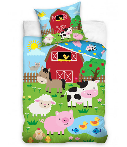 Farm Animals Single Quilt Cover Set EURO CASE