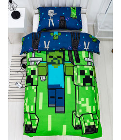 MINECRAFT CREEPS Single Quilt Cover Set POLYESTER