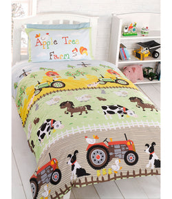 Apple Tree Farm Animals - Toddler Bed/Cot Quilt Cover Set