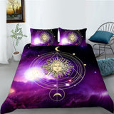Purple Sun Moon Galaxy Quilt Cover Set