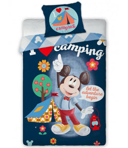 PRE ORDER Mickey Mouse Camping Single Quilt Cover Set EURO CASE