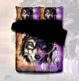 Colourful Wolf Dream Catcher Quilt Cover Set