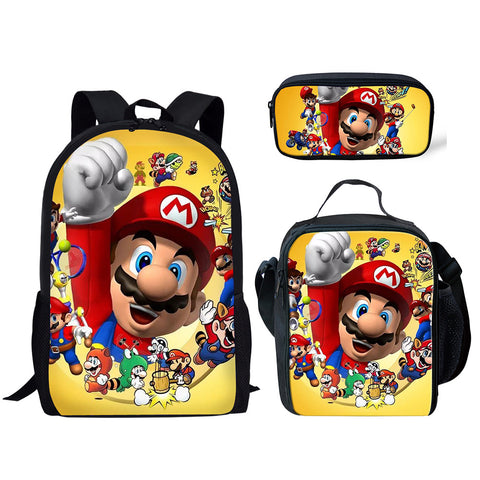 Mario 3 Piece Backpack Set (Cooler bag, Pencil Case)