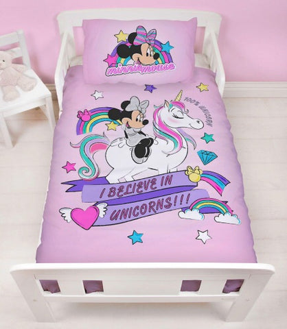 MINNIE MOUSE UNICORN - Toddler Bed/Cot Quilt Cover Set