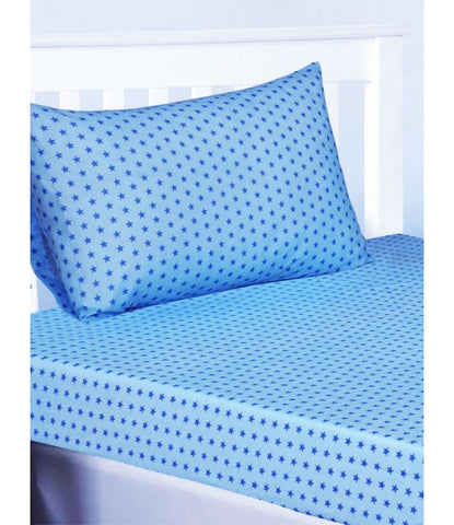 BLUE STAR Single fitted sheet & Pillowcase