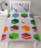 Minecraft Pixel Licensed Single Quilt Cover Set POLYESTER